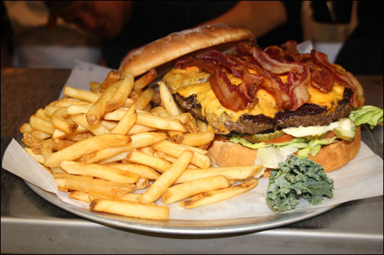 the beast burger challenge at joe sensers restaurant