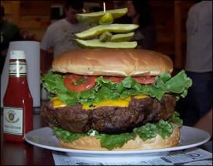ye old 96er burger challenge at dennys beer barrel pub